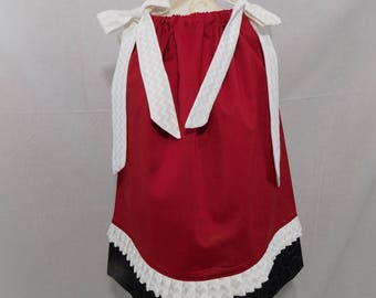BOUTIQUE PILLOWCASE DRESS / Red Solid, White & Black