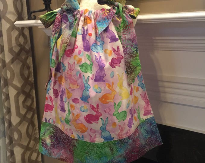 PILLOWCASE DRESS - Matching Fabric Bows / Psychedelic Bunny