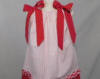 BOUTIQUE PILLOWCASE DRESS / Red White & Pink Valentine