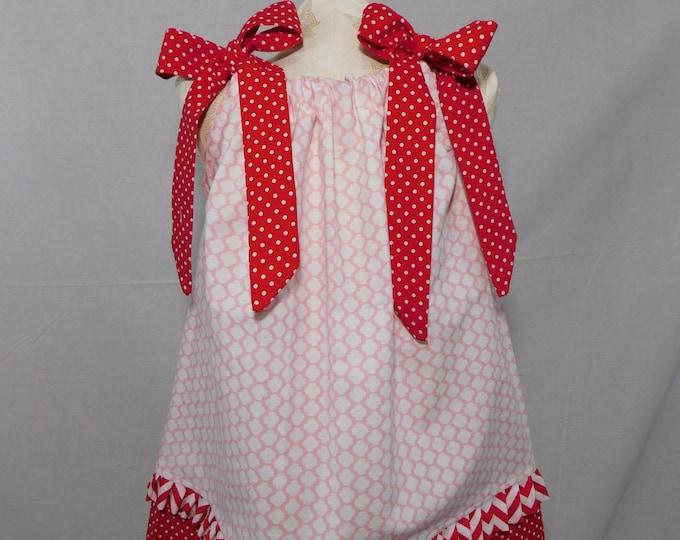 BOUTIQUE PILLOWCASE DRESS / Red White & Pink Valentine