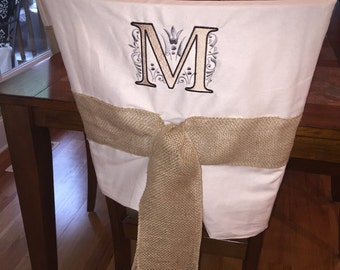 Monogrammed Chairback Slipcover / Chair Cap
