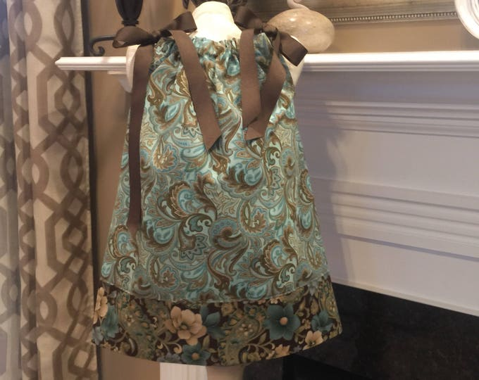 PILLOWCASE DRESS - Ribbon Bows / Turquoise and Brown