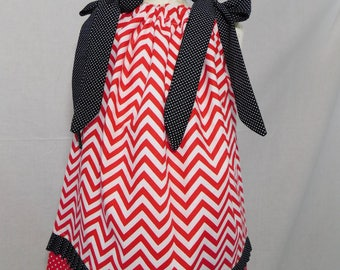 BOUTIQUE PILLOWCASE DRESS / Red White Chevron & Black