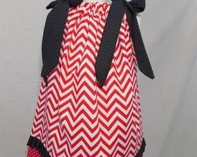 BOUTIQUE PILLOWCASE DRESS / Red White Chevron & Black