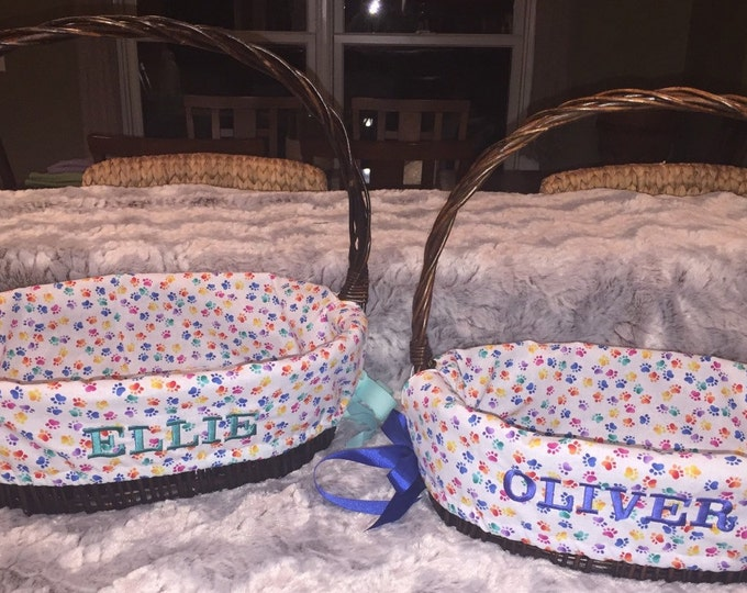 Doggie Basket / Easter Basket Liner (Custom Made) - PERSONALIZED PUP BASKET