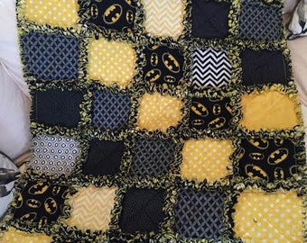 BATMAN NAP BLANKET - Toddler or Crib Blanket Rag Quilt
