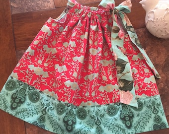 BOUTIQUE PILLOWCASE DRESS / Deep Coral & Mint Green