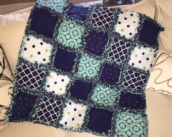 BABY RAG QUILT - Nautical Baby - Custom / handmade