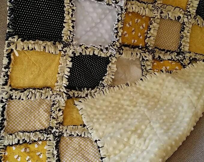 Honey Bee Crib Blanket / Small Throw