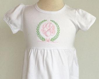Girl's monogrammed dress, girl personalized dress, girls spring dress, white knit dress, dress with custom monogram, birthday dress