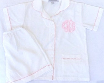 flower girl pajamas, summer pajamas, girls personalized pajamas, monogram pink pajamas,  little girls nightgown, monogrammed pygamas