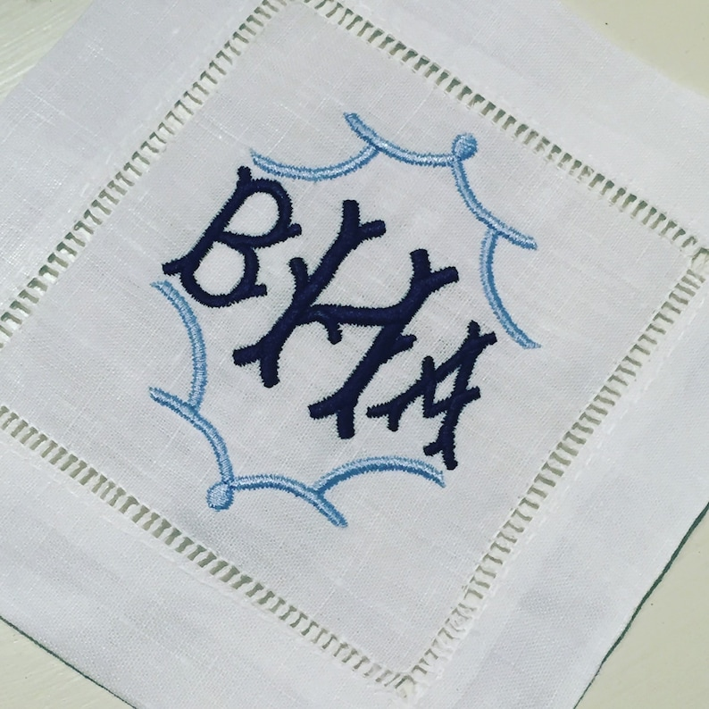 Monogrammed Pagoda Cocktail Napkins chinoiserie linen coasters wedding hostess gift asian inspired hemstitch coasters