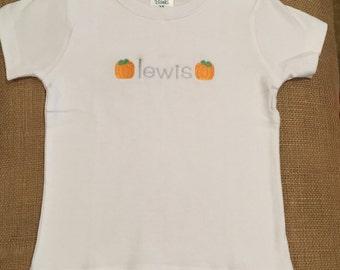Boy's personalized pumpkin shirt, boy monogram Halloween tshirt, boy's fall tee, boy monogrammed pumpkin shirt, personalized Halloween