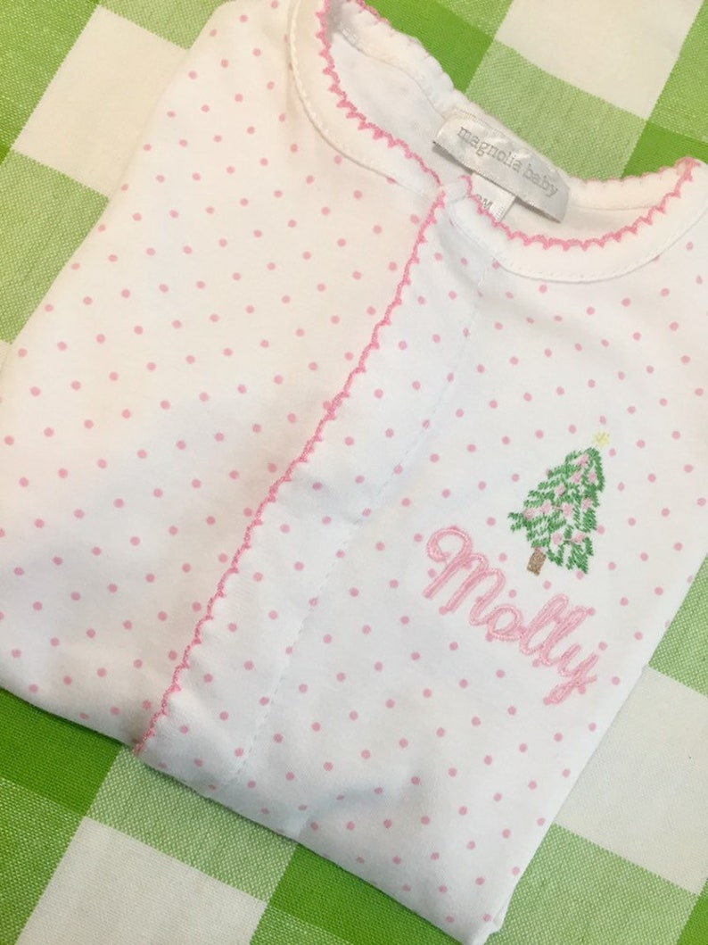 d57072fcb Baby girl Christmas outfit personalized Christmas pajamas   Etsy