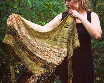 Knitting pattern: instant download PDF. *Quiet Spot Shawl* Knitting Pattern. Shawl pattern.
