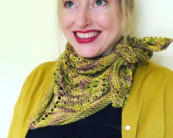 Knitting pattern: instant download PDF. *One-Skein Sweet Jane Mini Shawl* knitting pattern. Shawl pattern.