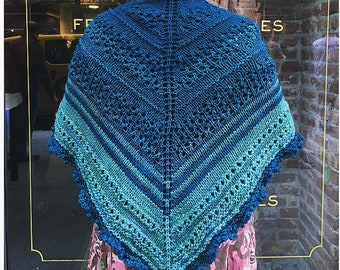 Knitting pattern: instant download PDF. *Chelsea Girl Shawl* Knitting Pattern. Shawl pattern.