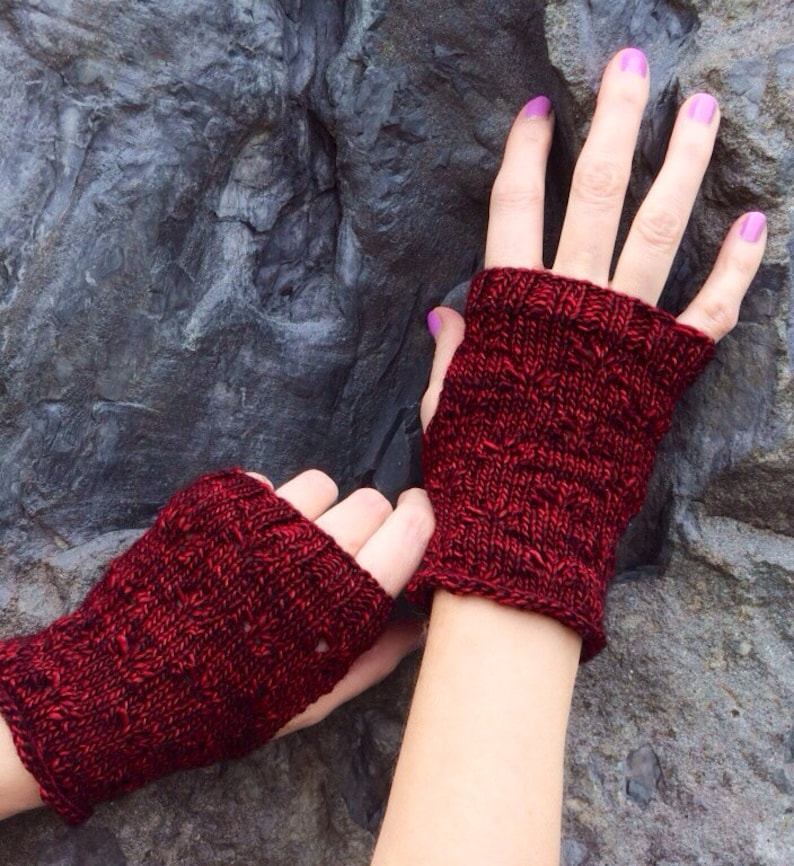 Butterfly Eyelet Mitts  extrafine merino wool wrist warmers image 0