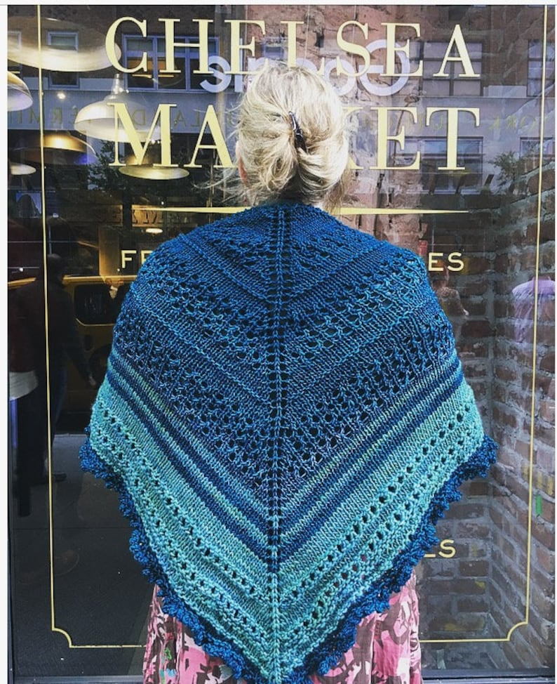 Knitting pattern: instant download PDF. Chelsea Girl Shawl image 0