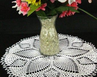 Crochet Pineapple doily; white; handmade