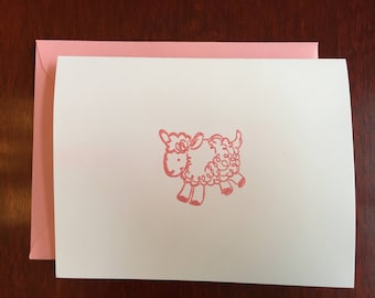 Hand-Embossed Lamb Notecard