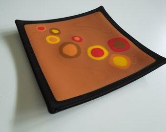 "8""x8"" plate - Autumn polka dots"