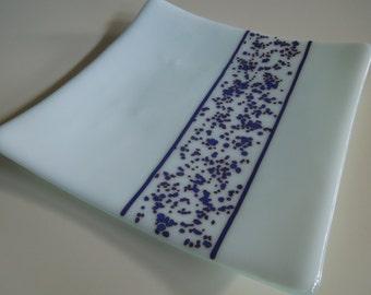 "8""x8"" plate - Blue Lace Stripe"