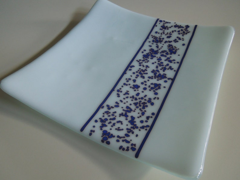 8x8 plate  Blue Lace Stripe image 0