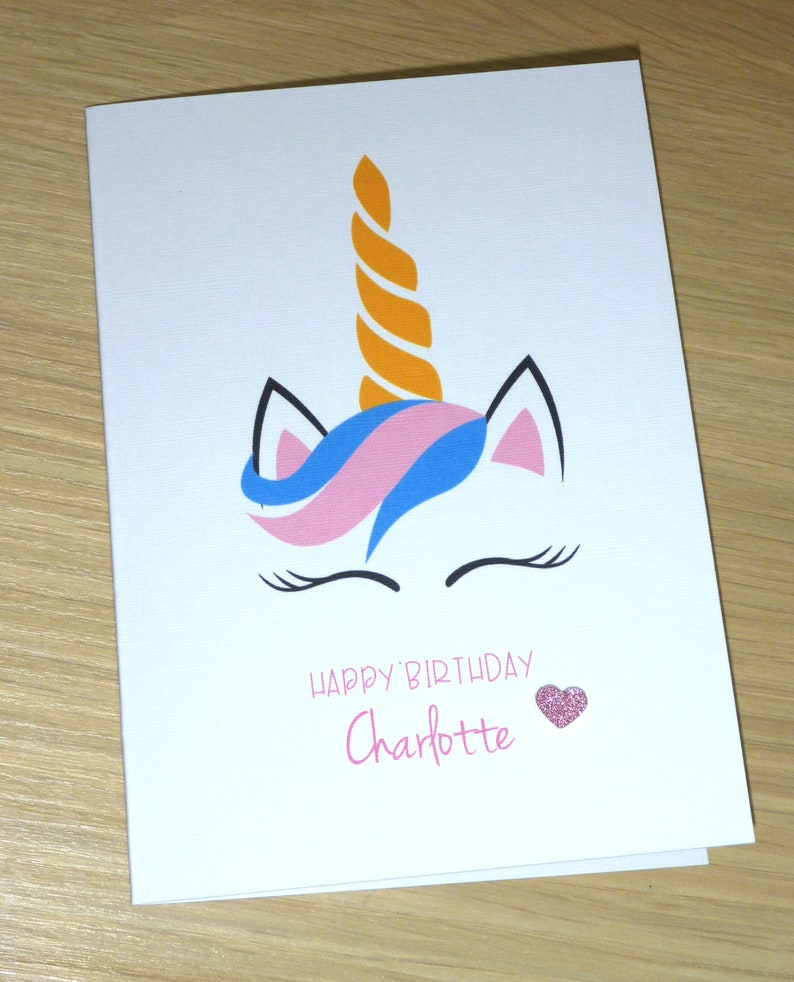 Unicorn Happy Birthday Card Personalised With A Name