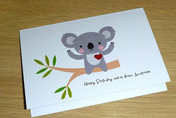 Happy Belated Birthday Masculine Manly Koala Unique Man Boy Australia Aussie Handmade Unusual One of a Kind Greeting Card