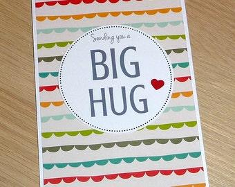 Sending you a Big Hug - Get well / Sympathy / Thinking of you card / bereavement -  handmade greeting card