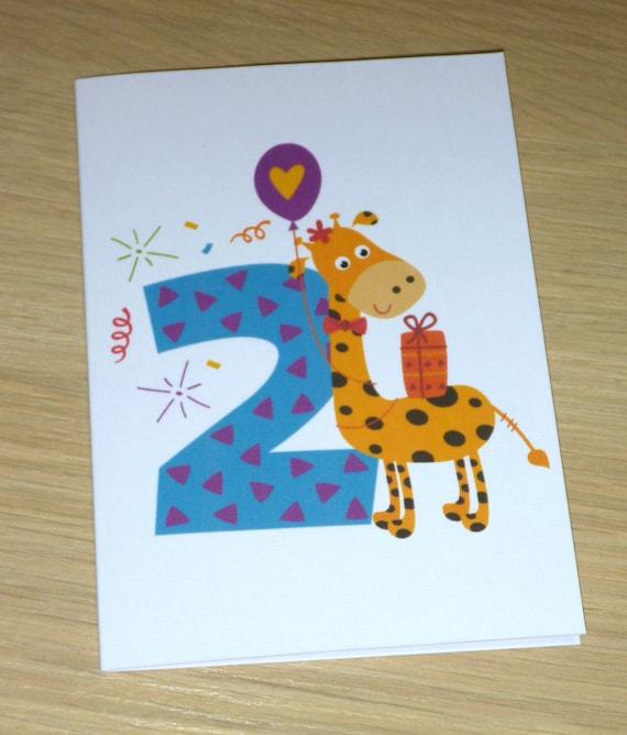 2nd Birthday Card Boys Girls Two Giraffe Kids Age