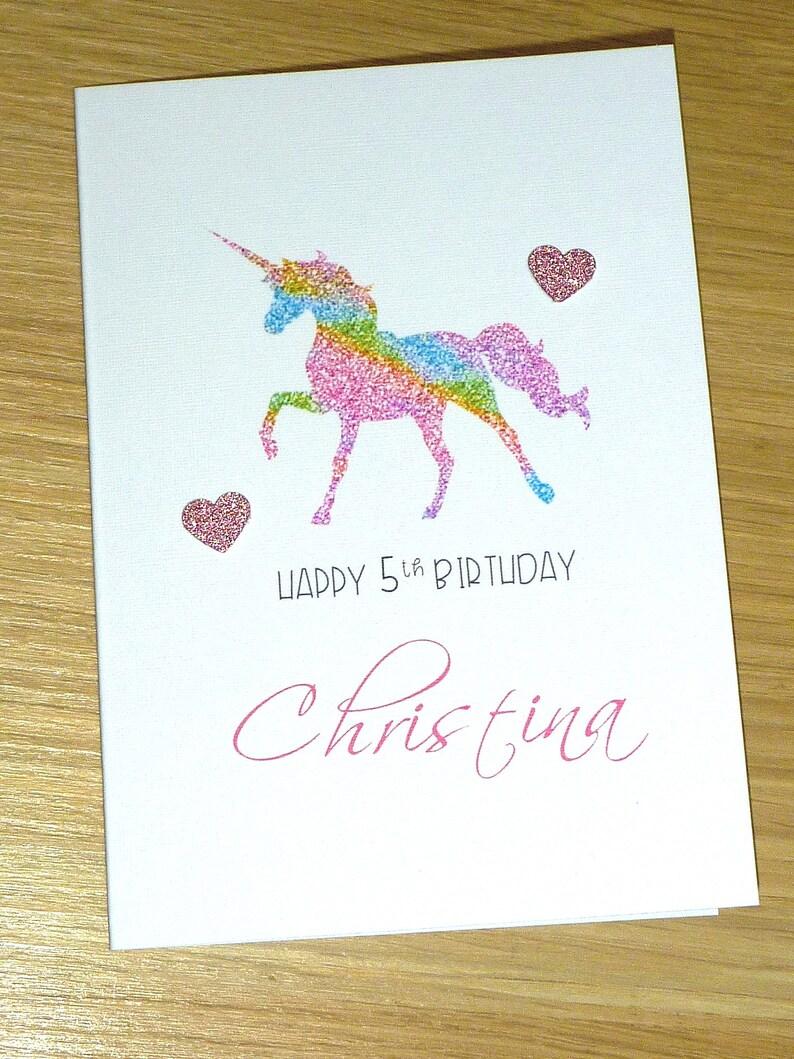 Girls Happy Birthday Card Rainbow Unicorn 3rd 4th 5th 6th