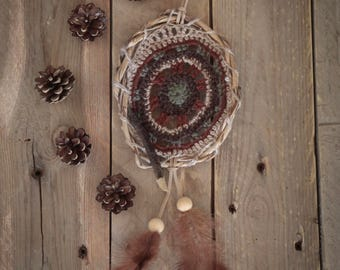 Crocheted wall hanging, dream catcher