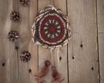 Crocheted wall hanging, dream catcher