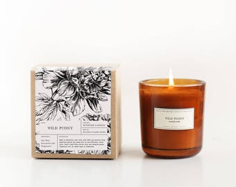 Wild Peony Amber Glass Soy Candle