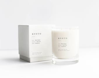 Kyoto Double-Wicked Luxury Candle - 100% Soy with Notes of Hinoki cypress, cedar, sandalwood, vetiver, and pine