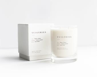 Tuileries Double-Wicked Luxury Candle - 100% Soy with notes of tuberose, muguet, jasmine, gardenia, amber woods