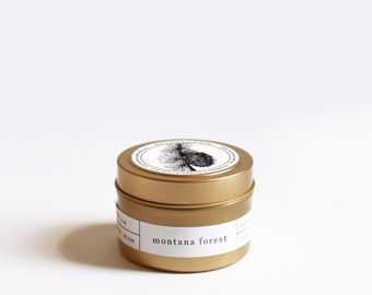 Montana Forest Gold Travel Soy Candle