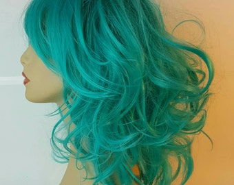 Mid-Length Wavy Blue Teal Wig, Mid-Length Blue Wig, Blue Wig, Mid-Length Wavy Teal Wig, Stacked, Teal Wig, Costume, Cosplay, Ball