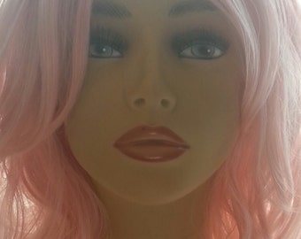 Long, Pink Wig with Sweeping Bangs, Light Pink Wig, Wavy, Loose Waves, Cosplay Wig, Adult Costume Wig