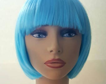 Icey Blue Chin Length Bob With Textured Layering Blue Bob Etsy