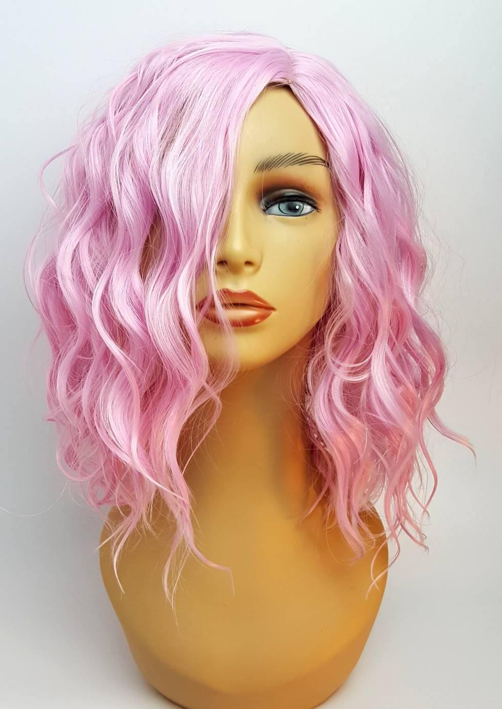 Pink Wavy Wig Wavy Light Pink Wig Pink Wig Shoulder Length