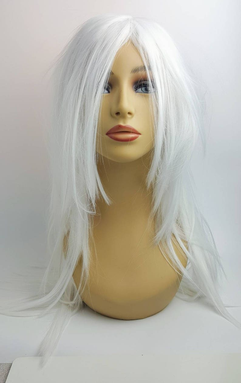 Perruque Blonde blanche longue droite platine