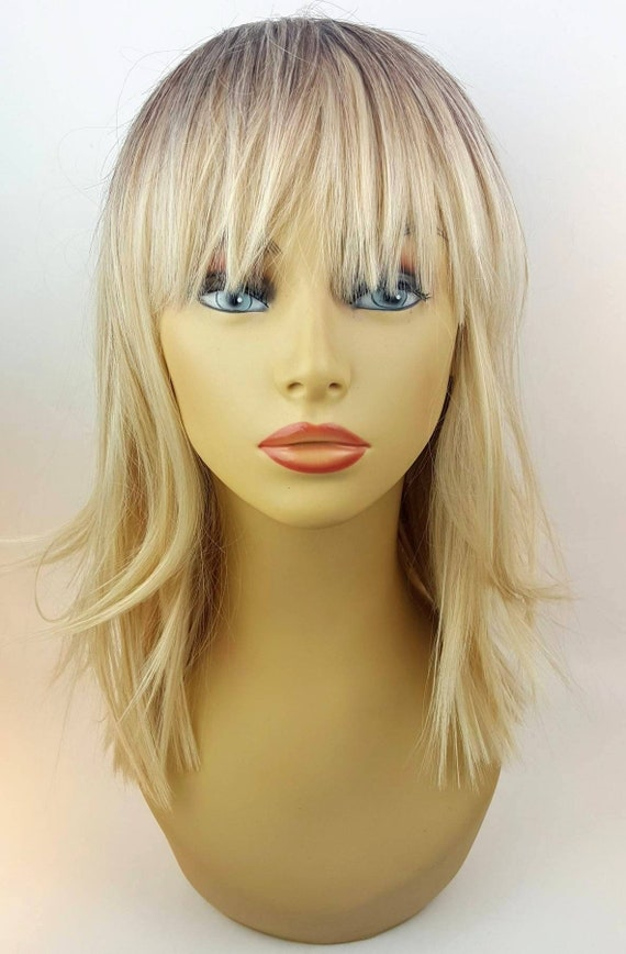 Mid Length Blonde Bob With Bangs Blonde Ombre Wig Blonde Bob Wig With Darker Roots Blonde Mid Length Wig Blonde Layered Wig Bangs