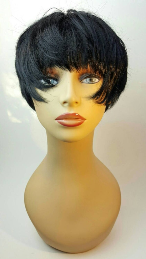 Kurze Schwarze Perücke Kurze Schwarze Pixie Cut Pixie Haare Etsy