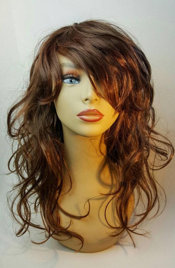 Mid Length Wavy A Line Brunette Wig Brunette A Line Bob With Etsy