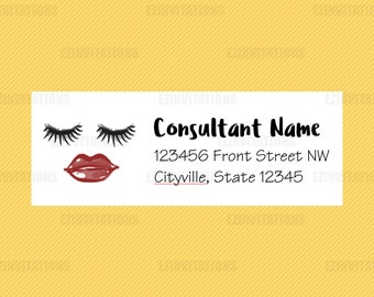 Lips And Lashes Return Address Labels