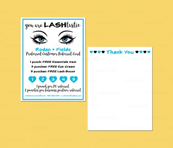 Rodan And Fields Lash Boost Referral Thank You Cards Etsy