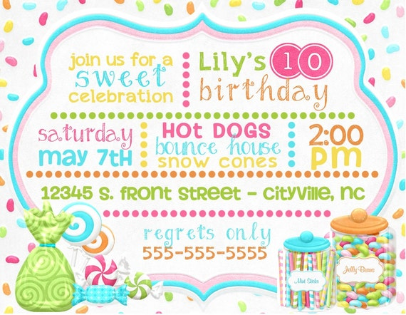 Candy themed birthday party digital invitations little etsy image 0 filmwisefo